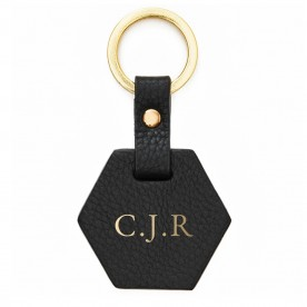 Personalised Leather Hex Keyring