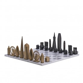 Luxury Bronze San Francisco vs London Edition with Carrara Marble Hatch Playing Board