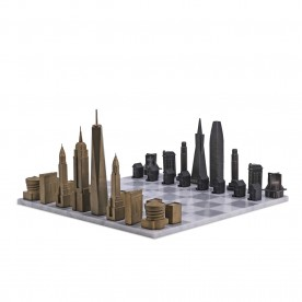 Luxury Bronze New York vs San Francisco Edition with Carrara Marble Hatch Playing Board